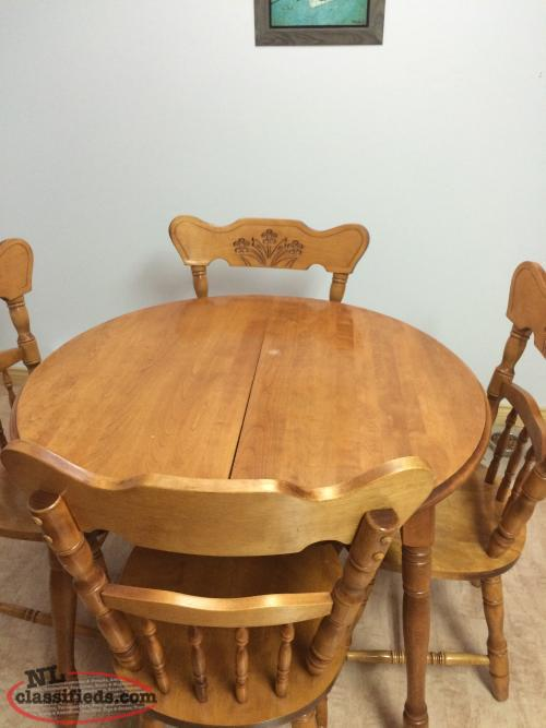 Solid oak table and chairs 4 2 leaf inserts st john for Solid oak dining table with leaf
