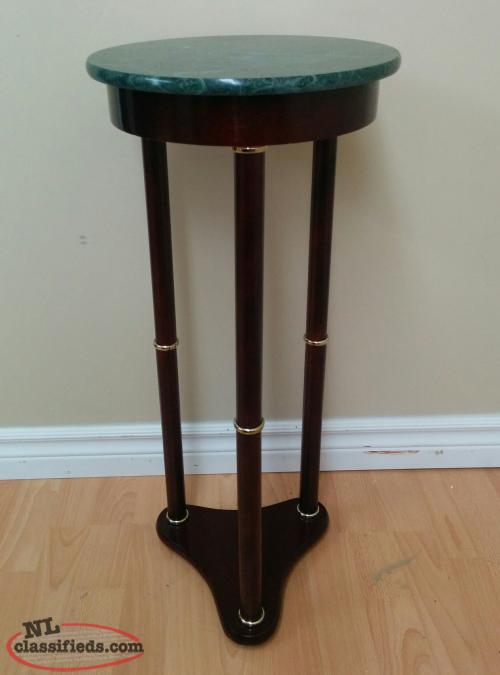Wood Pedestal Stand w/Green Marble Round Top