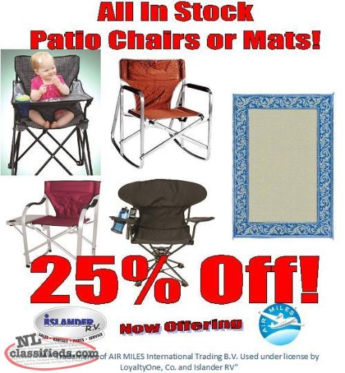 All In Stock Patio Mats and Chairs 25% Off!