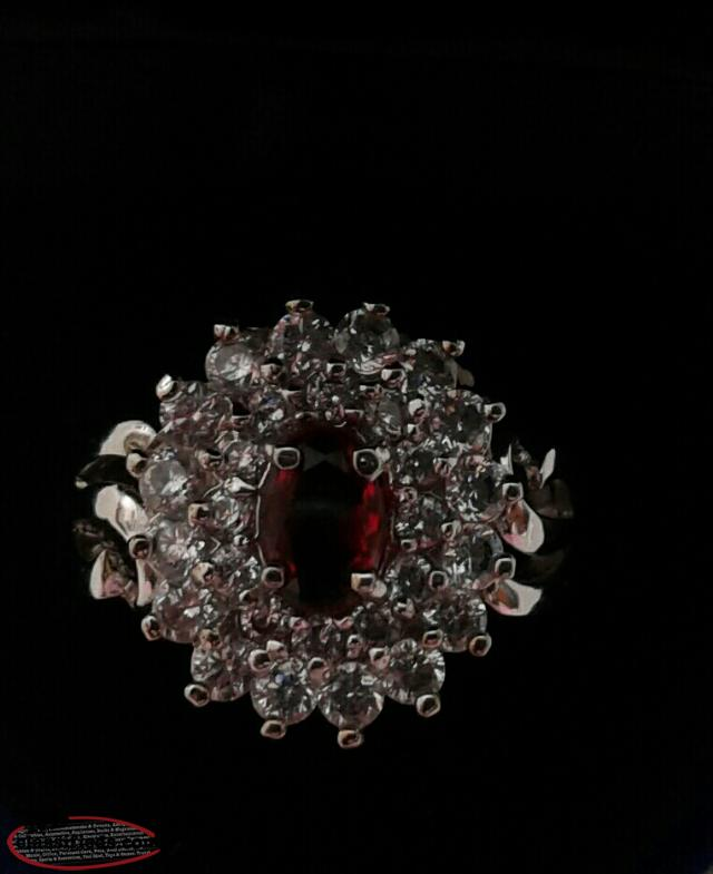 14 karat white gold all occasions ring with genuine ruby size 7