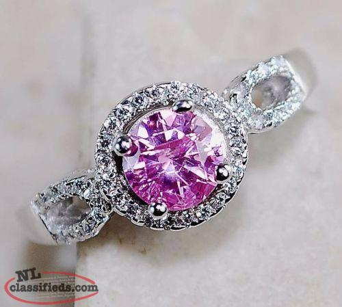 BEAUTIFUL SOLID STERLING SILVER WITH GENUINE 1 CARAT PINK SAPPHIRE RING