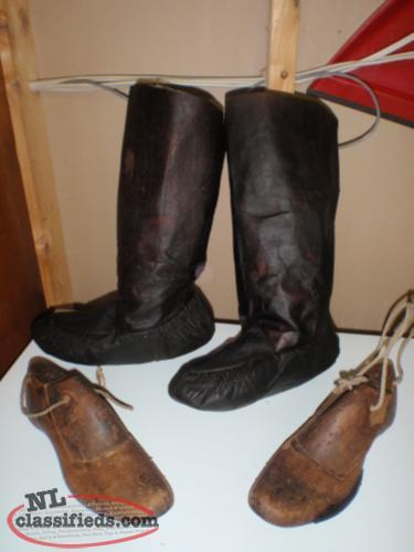old seal skin boots and wooden strechers