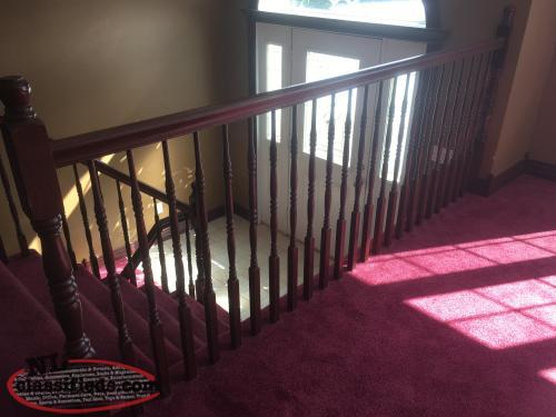 Solid oak stair railing and spindles