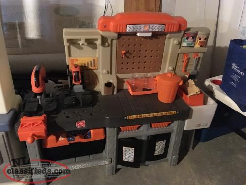 Tool Bench, tool box and chainsaw