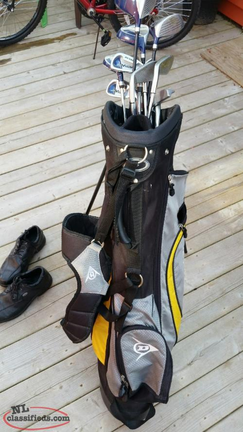 Golfclubs ( right hand ) bag and shoes