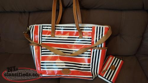 Fossil luggage/carry on bag & matching purse