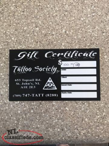 $100.00 Gift Certificate to Tattoo Society