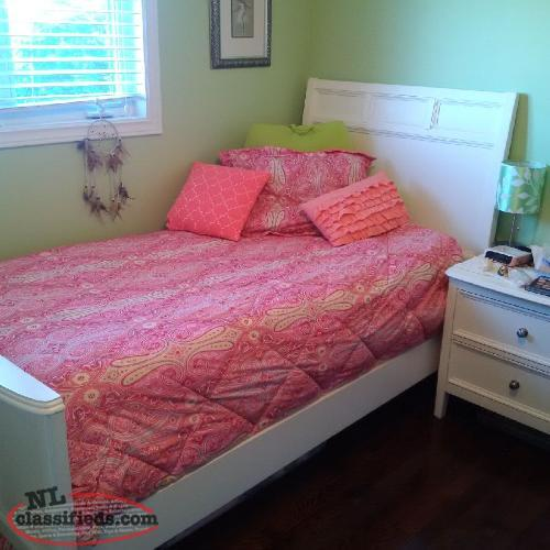Twin bed with headboard and footboard, sealy mattress and box spring