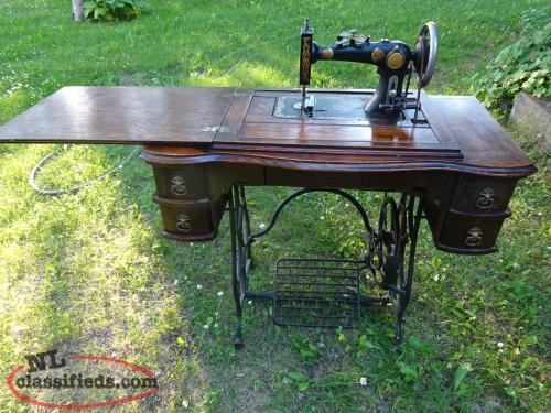 Antique Sewing Machine Table with Singer Sewing Machine