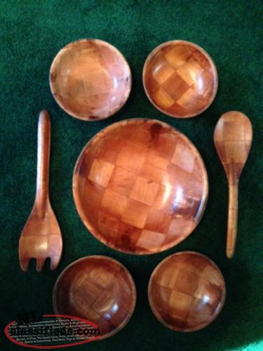 Vintage Woven Wooden Salad Serving Set For 4