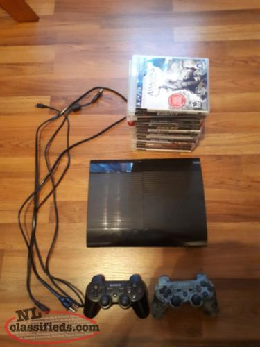 PS3 Console, 2 Controllers, All Cables + 15 Games