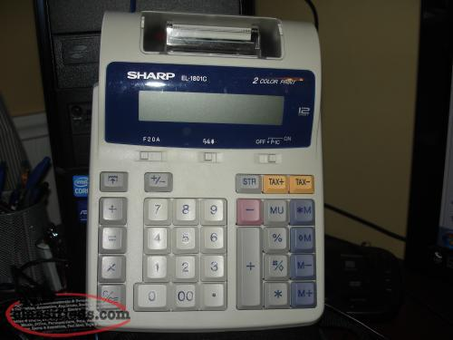 SHARP EL-1801C , F20A 12 DIGIT, 2 COLOR PRINT ADDING MACHINE, LIKE NEW WORKS PE