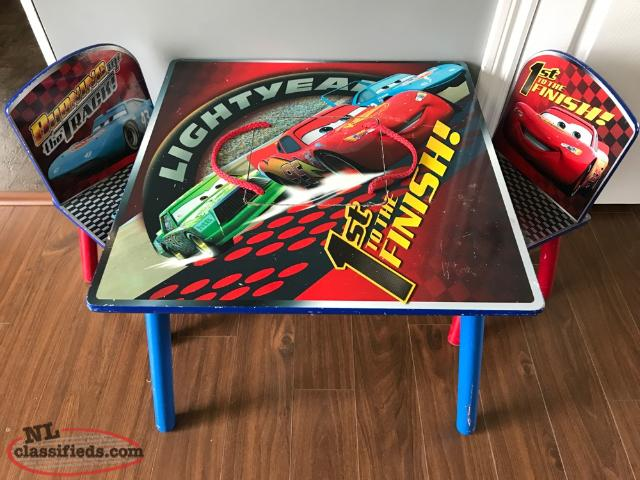 Cars table and two chairs