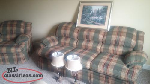 Sofa & Chair, lamp set, 2 bar stools and large pucture to match