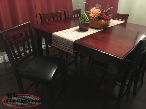 Pub Style Table with 6 Chairs For Sale