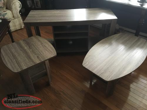 Coffee and end tables matching TV stand