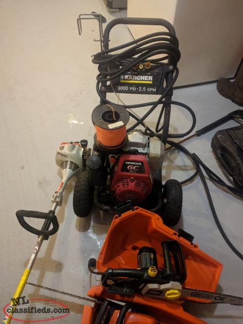 Pressure washer, chain saw, whipper snipper