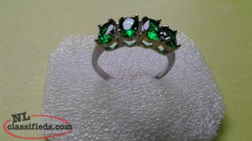 Ladies Size 6.5 Gold Filled Emerald Ring