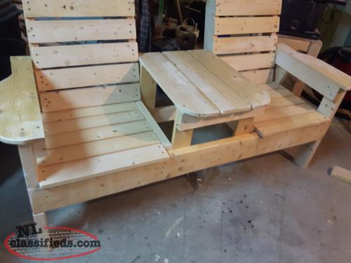 Vintage Double bench with table