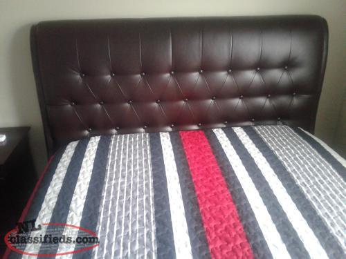 Double leather look headboard and frame
