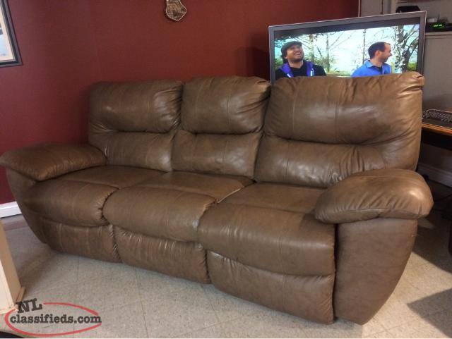 Leather Beige/ Light Brown Couch