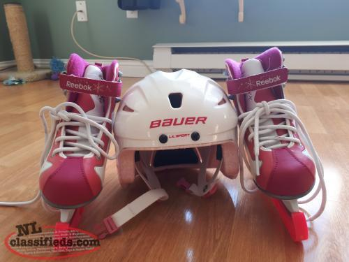 GIRLS SIZE 1 REEBOK SKATES AND HELMENT