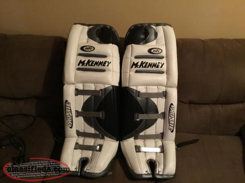 "For sale a pair of 29"" intermediate ice hockey goalie pads,"
