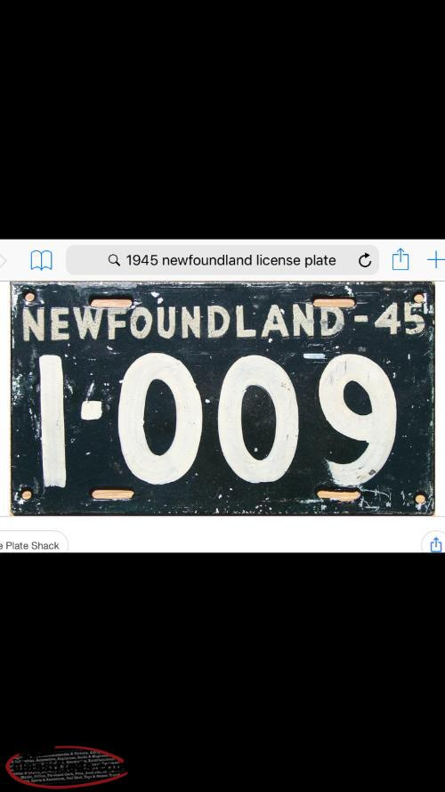 1945 Newfoundland license plate Wanted