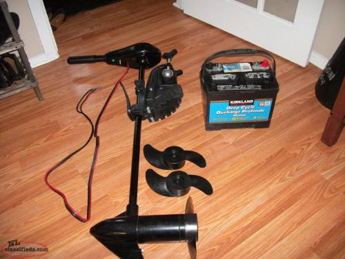 Fs Shakespeare Trolling motor, battery and two new props