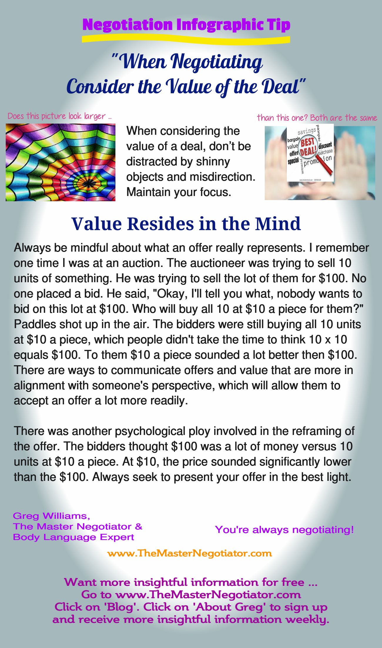 When Negotiating Consider the Value of the Deal