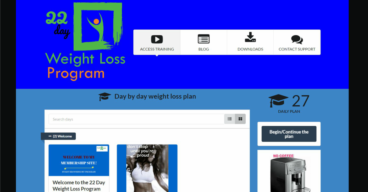 22 day weight loss program membership site