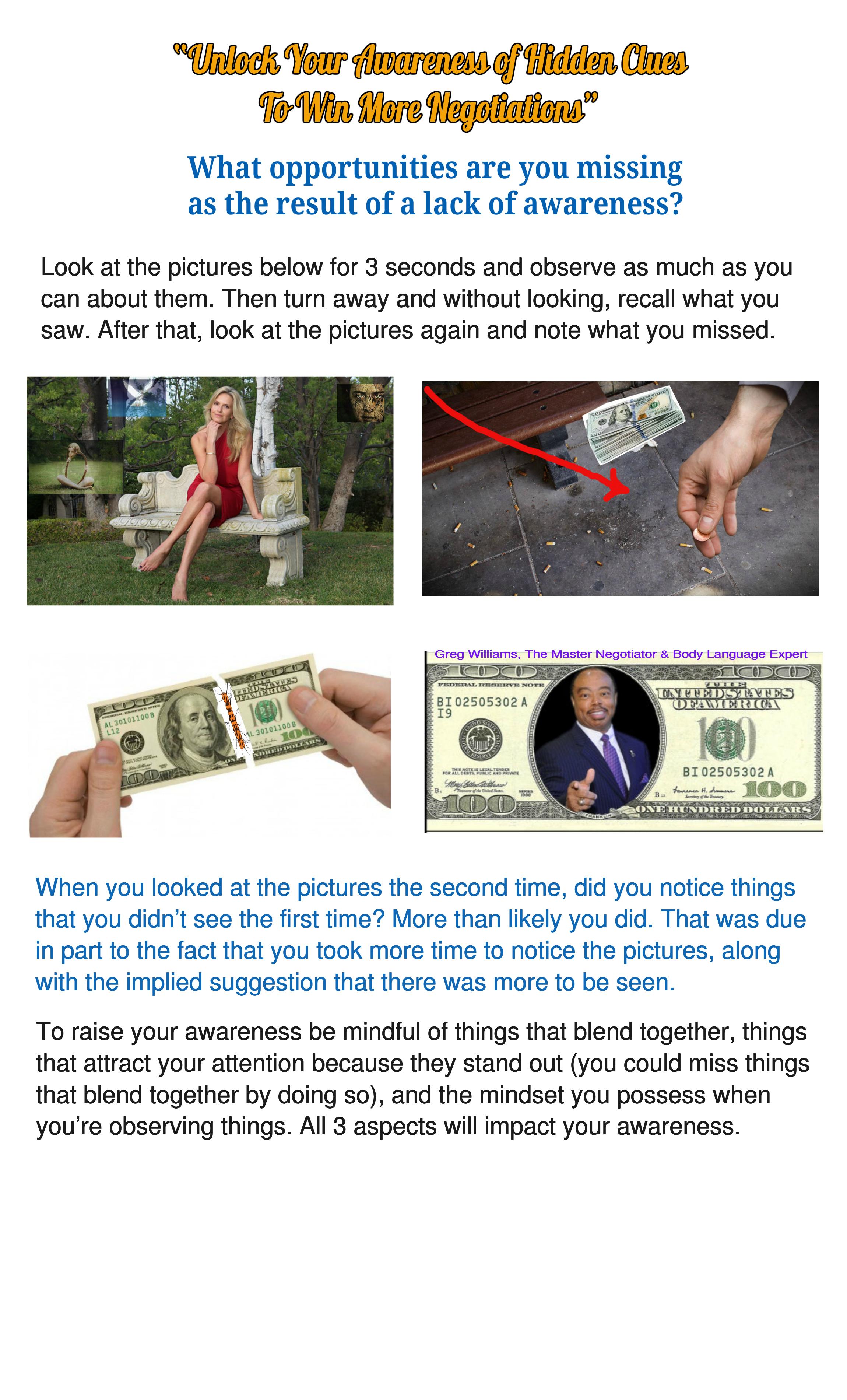Unlock Your Awareness of Hidden Clues To Win More Negotiations