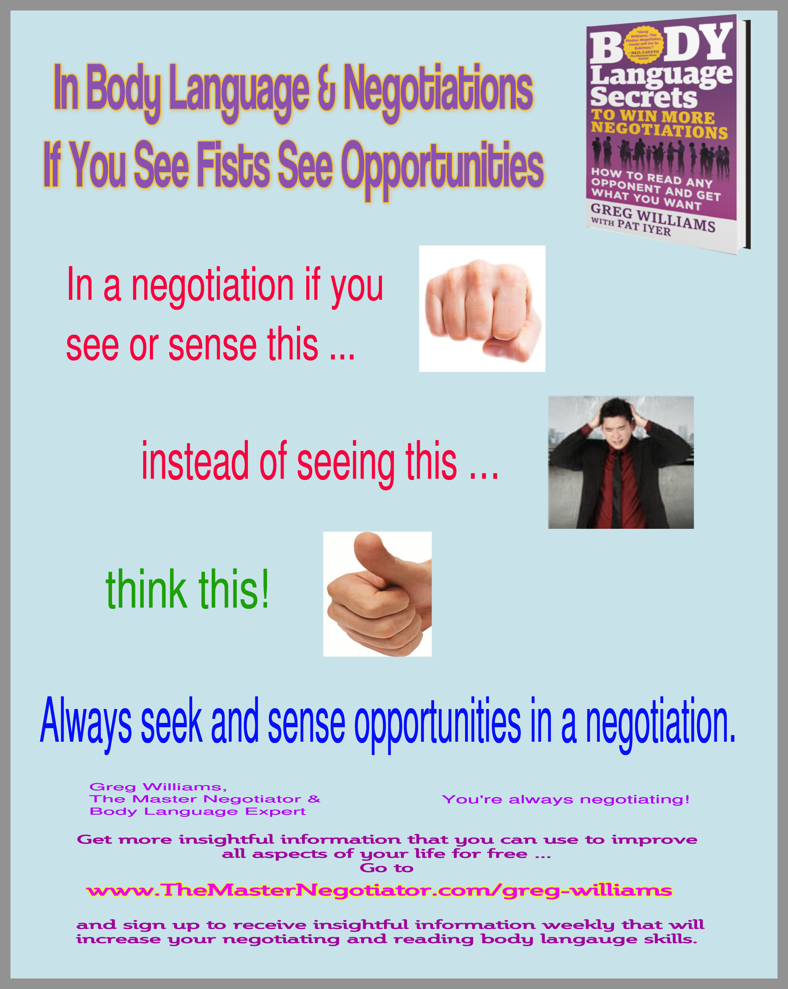 In Body Language  Negotiations If You See Fists See Opportunities