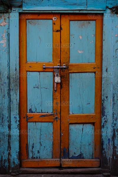 Blue door in Kathmandu Nepal
