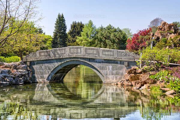 Stone bridge passing over a pond