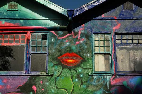 Painted house in Venice Beach, California, USA
