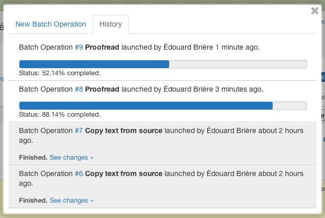 Progress bar batch operations