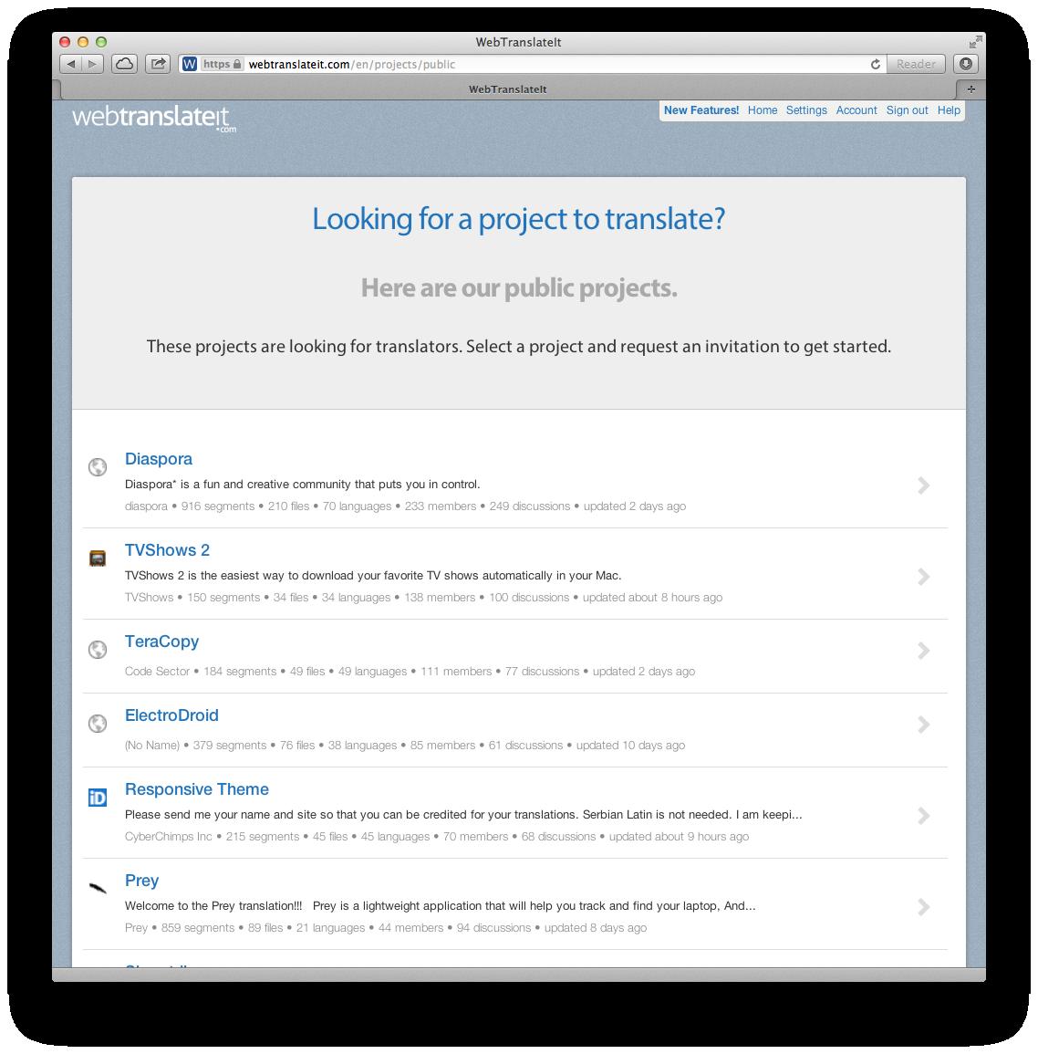 Public projects on WebTranslateIt