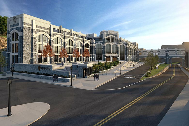 Digital rendering of what the Cyber & Engineering Academic Center will look like once completed.