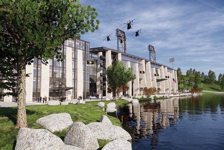 Exterior rendering of the future Michie Stadium