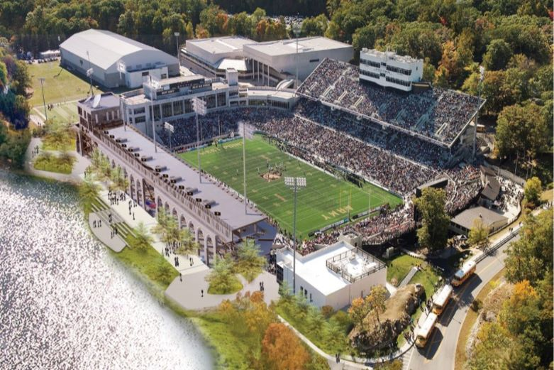 Aerial view of Michie Stadium at West Point with fans in bleachers watching Army football game.