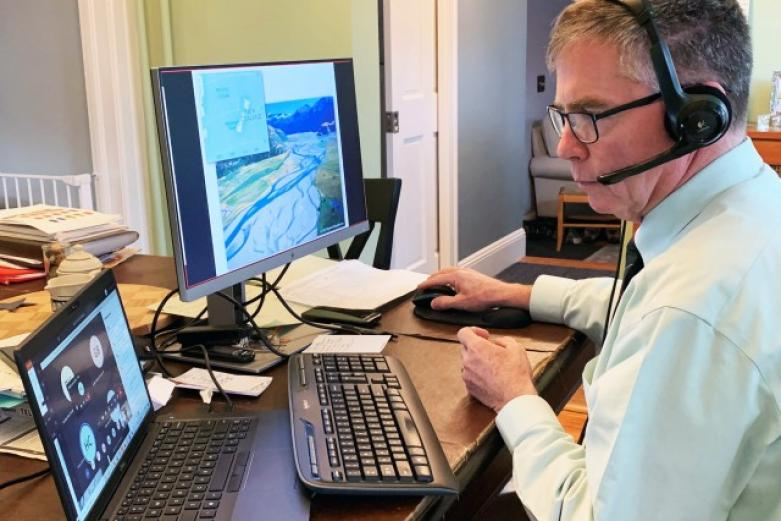 Jim Dalton teaches a class using Microsoft Teams to cadet spread out throughout the country. The U.S. Military Academy began teleteaching Thursday, March 19, after cadets were unable to return from spring break due to COVID-19.