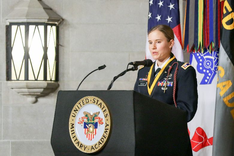 Capt. Lindsay Heisler, USMA Class of 2012, receives the 2019 Nininger Award presented by the West Point Association of Graduates Thursday, Oct. 25, 2019. Heisler received the award for her actions on Dec. 5, 2015 when she was deployed in Afghanistan.
