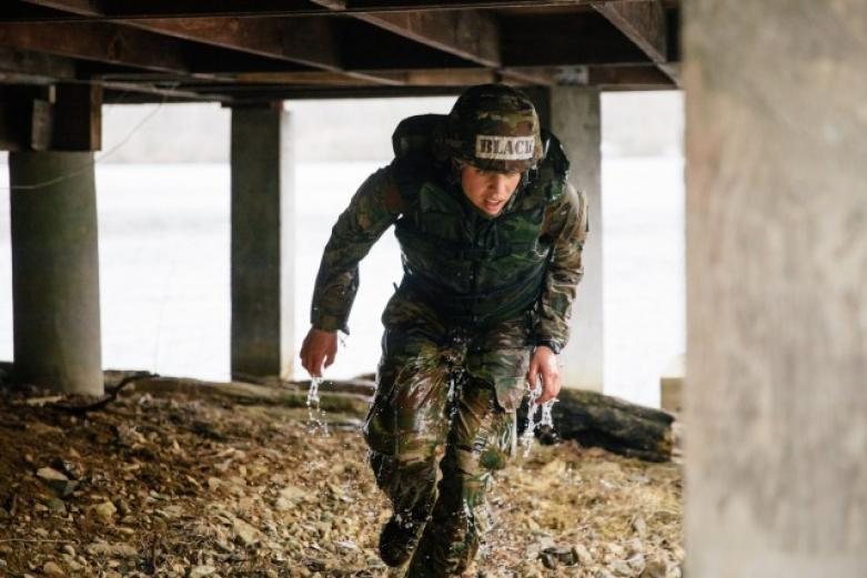 Cadet completes an event during the Sandhurst Competition