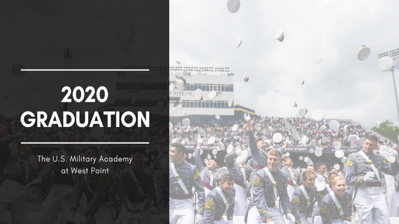 """Cadets toss their covers during the 2019 graduation ceremony. Image text reads, '2020 Graduation. The U.S. Military Academy at West Point"""""""
