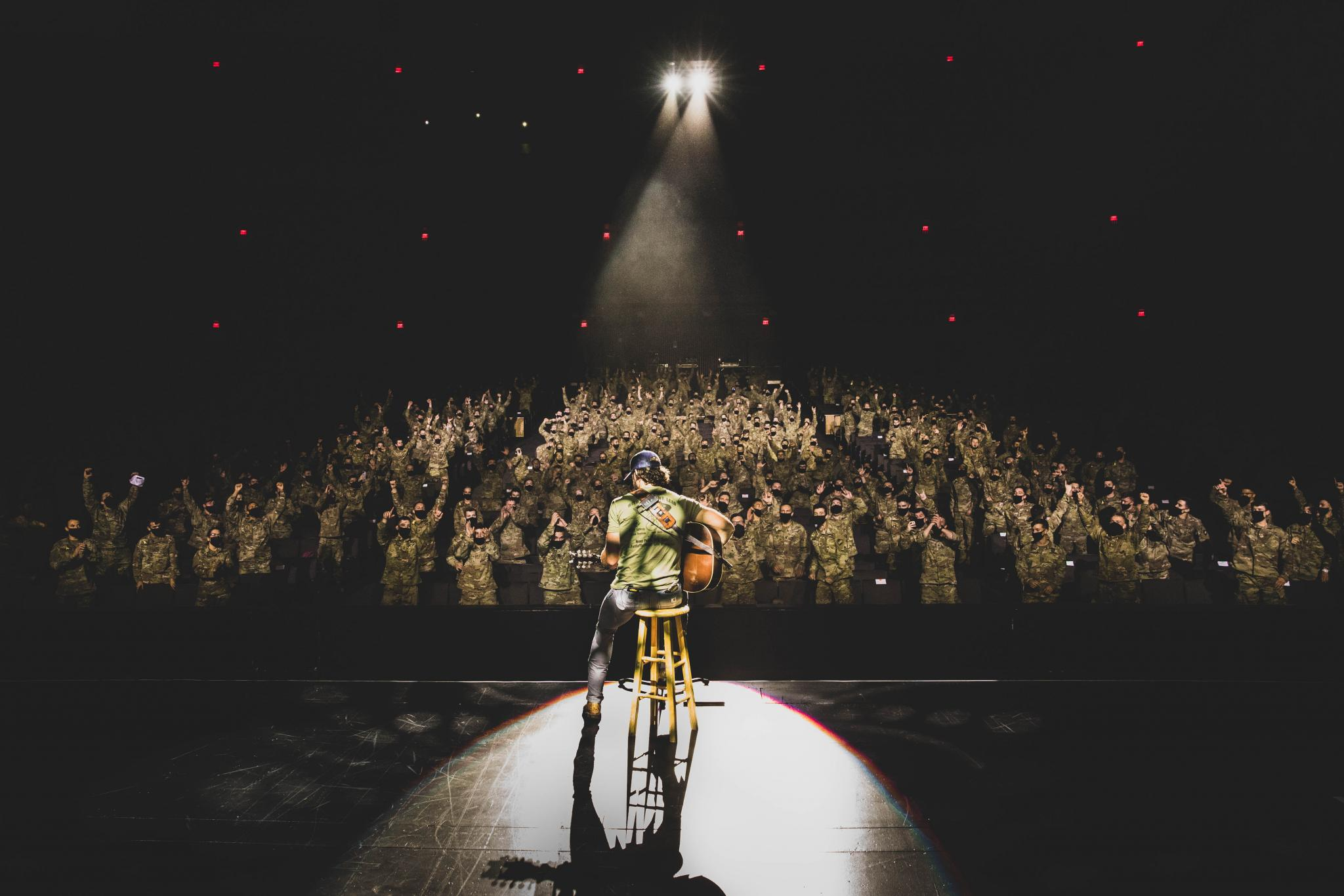 """Platinum country artist Riley Green performs in front of the U.S. Military Academy Corps of Cadets during the """"We Stand Together"""" concert on Sept. 11 at West Point."""