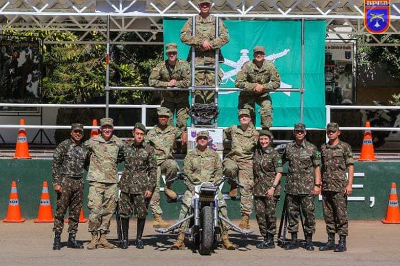 Cadets on a motorcycle in Brazil