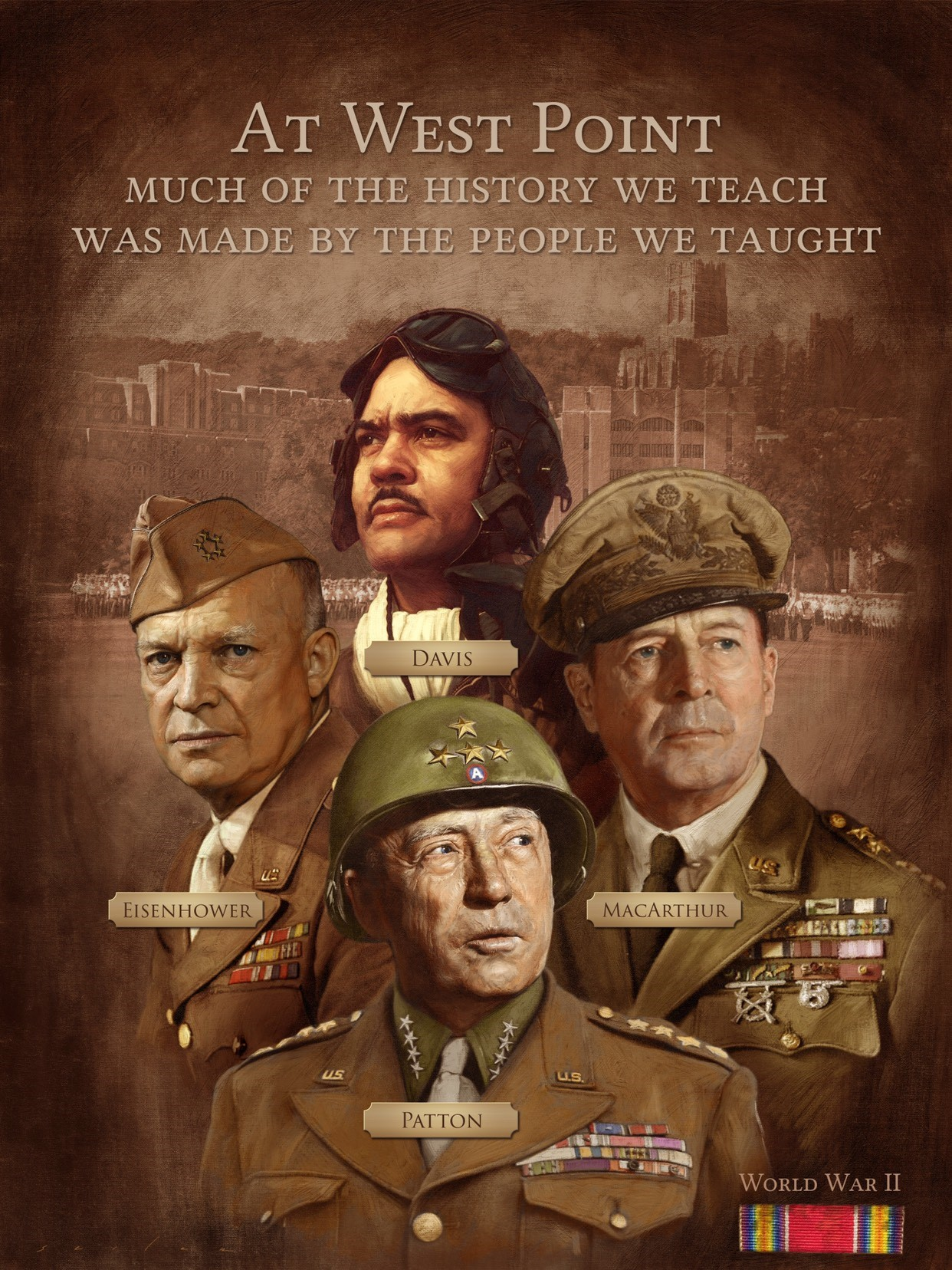 Poster features portraits of Generals Davis, Eisenhower, Patton, and MacArthur.