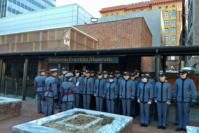 Cadets in formation in front of the Benjamin Franklin Museum.