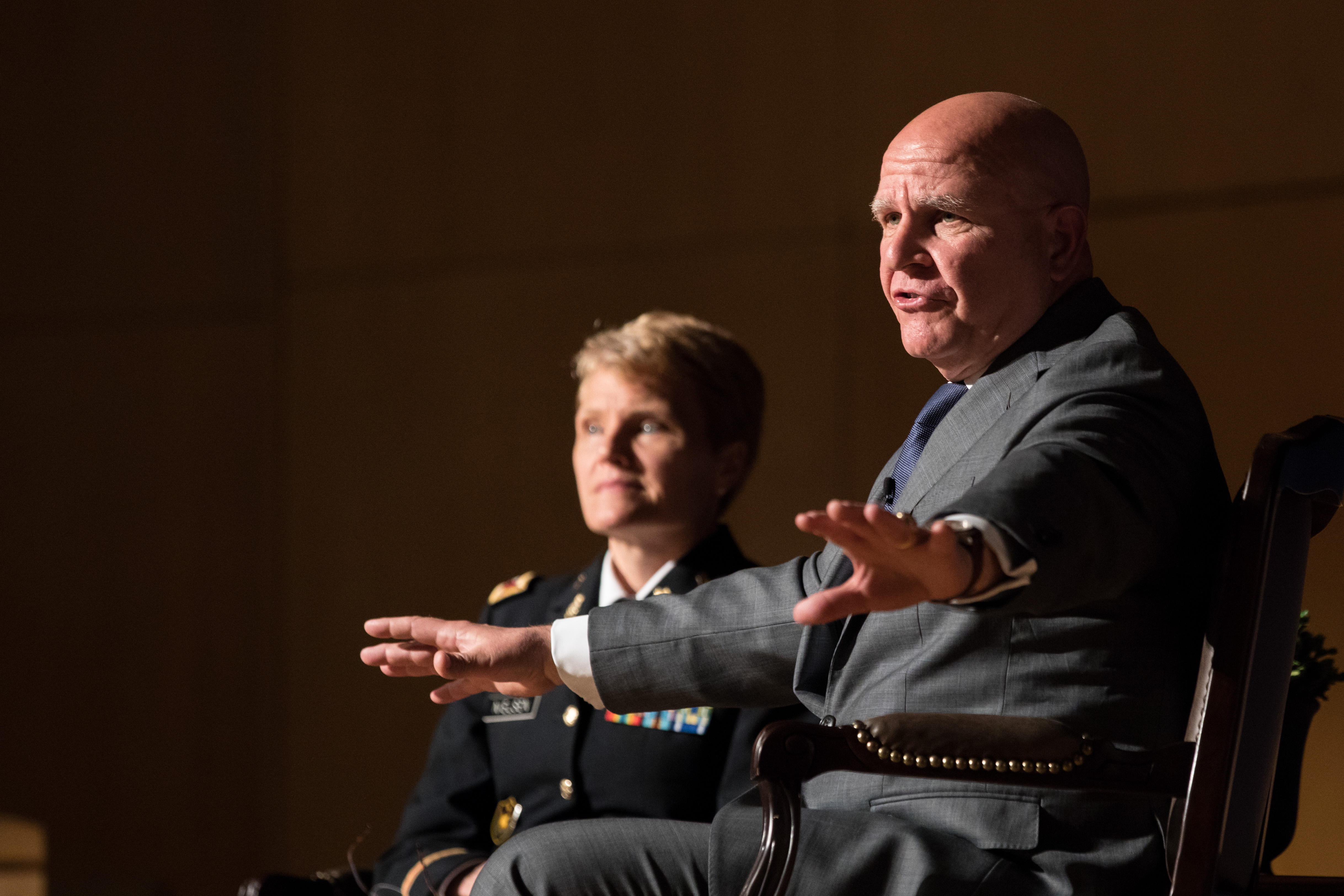 McMaster addressing cadets as part of the Class of 1952 Lecture Series